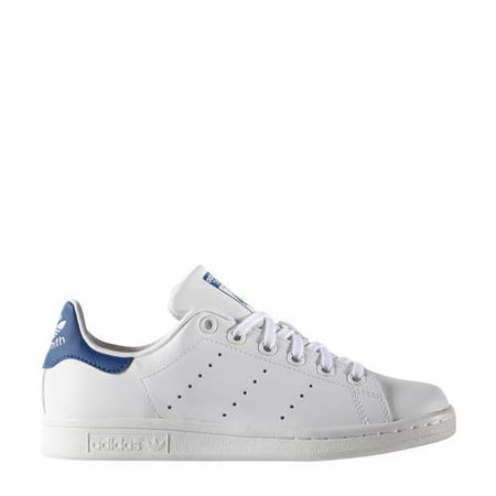 adidas Originals Stan Smith J leren sneakers wit/kobaltblauw