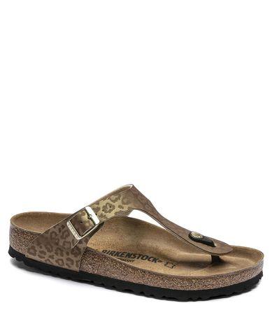 Birkenstock Slippers Gizeh Leopard Gold regular Birko-Flor Goudkleurig
