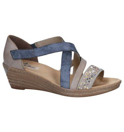 wereldwijd verkocht groothandel online te koop Blauwe/Taupe Sandalen Rieker