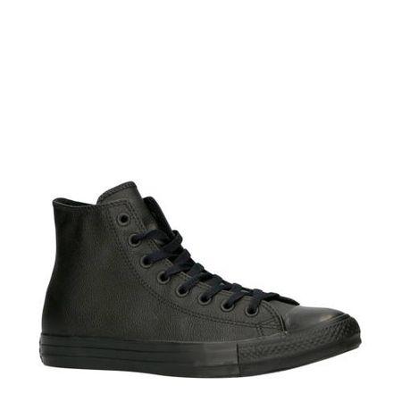 Converse Chuck Taylor All Star Hi leren sneakers zwart