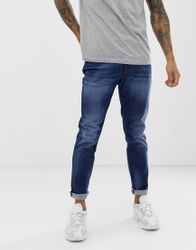 Diesel - D-Bazer - Smaltoelopende slim-fit jeans in 084GR mid wash - Blauw