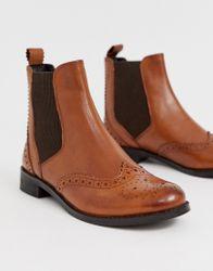 Dune Parks - Leren Chelsea boots in bruin