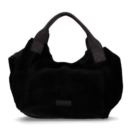 Handtas double face met gewaxt structuurleer zwart