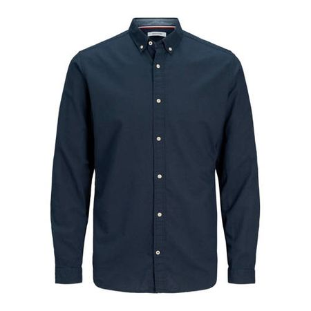 JACK & JONES ESSENTIALS slim fit overhemd donkerblauw