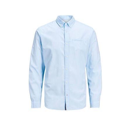 JACK & JONES ESSENTIALS slim fit overhemd met all over print lichtblauw