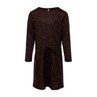 KIDS ONLY jersey jurk Kiki met dierenprint bruin/ zwart