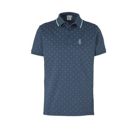 Kultivate regular fit polo met all over print donkerblauw