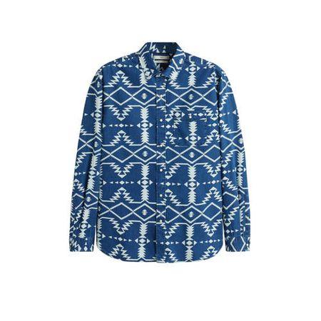 Mango Man regular fit overhemd met all over print blauw/wit