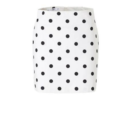 Mango rok met stippen en textuur wit/zwart