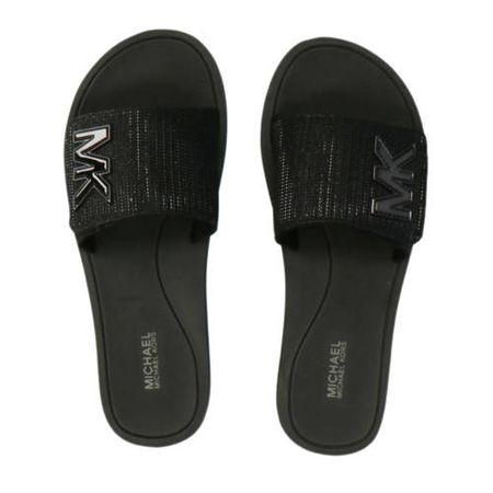 Michael Kors Glitter Platform Slide plateau slippers zwart