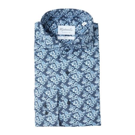 Michaelis slim fit overhemd met all over print blauw