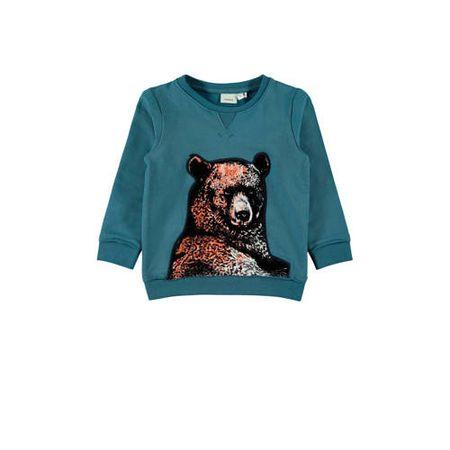 NAME IT MINI sweater met borduursels blauw/bruin/zwart