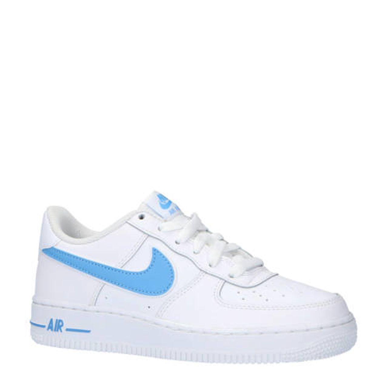 5fab6c1524a Nike Air Force 1-3 (GS) sneakers leer wit/lichtblauw - Vergelijk prijzen