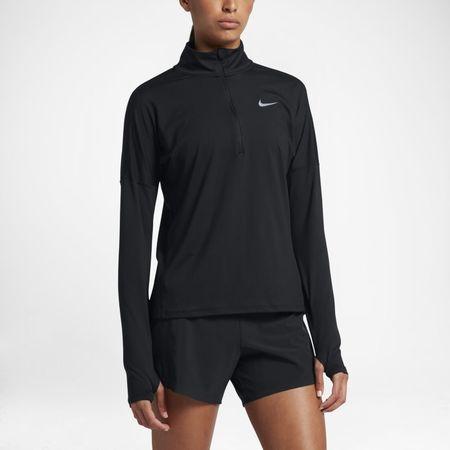 Nike Dri-FIT Element Hardlooptop met lange mouwen en halflange rits voor dames - Zwart