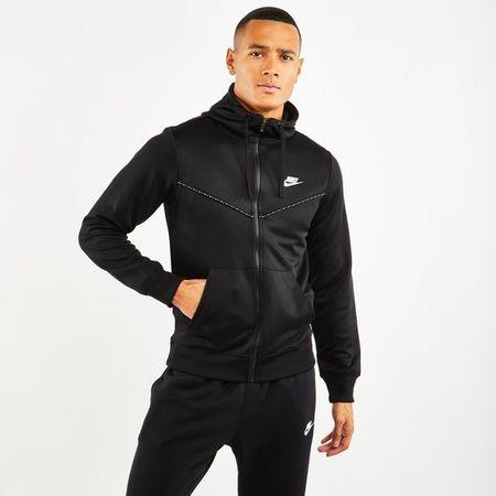 Nike Repeat Poly Full Zip - Heren Hoodies - Black - Poly Tricot - Maat S - Foot Locker