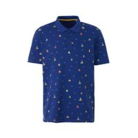 ONLY & SONS regular fit polo met all over print blauw