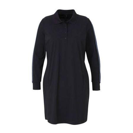 Plus Basics blousejurk van travelstof met zijstreep donkerblauw