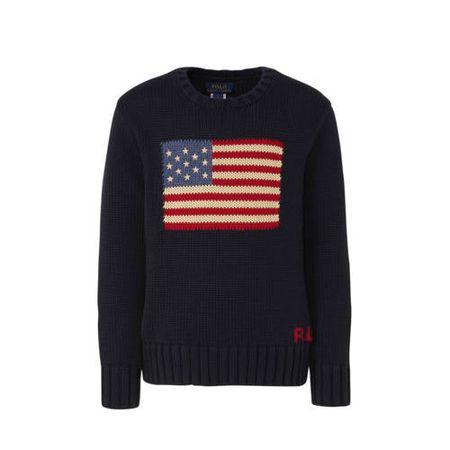 POLO Ralph Lauren gebreide trui met printopdruk donkerblauw