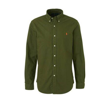 POLO Ralph Lauren slim fit overhemd olijfgroen