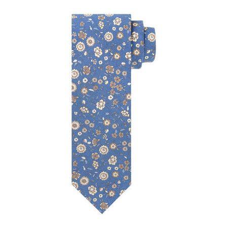 Profuomo zijden stropdas blauw/wit