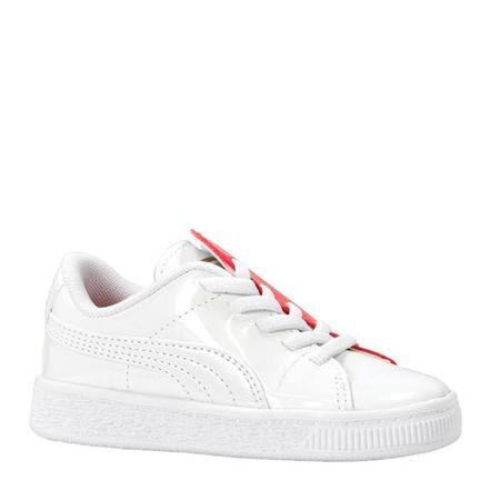 Puma Basket Crush Patent sneakers wit/roze