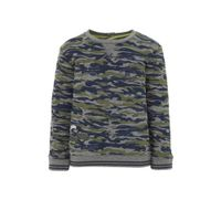 Quapi sweater Vik met camouflageprint army groen/blauw