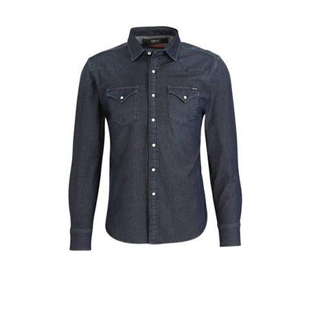 REPLAY slim fit overhemd dark denim