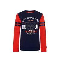 Retour Denim sweater Mathew met printopdruk rood/donkerblauw