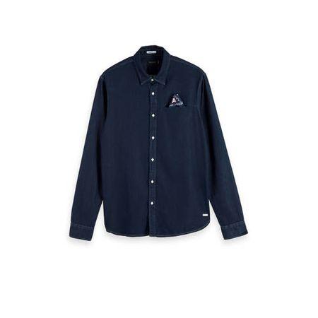 Scotch & Soda Amsterdams Blauw regular fit overhemd dark denim