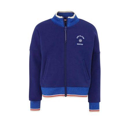 Scotch & Soda Amsterdams Blauw vest met glitters en logo blauw