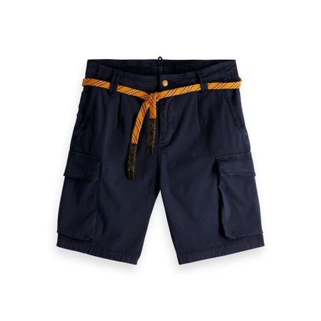 Scotch & Soda Classic washed cargo short blauw
