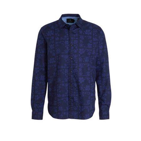 Scotch & Soda gebloemd regular fit overhemd donkerblauw