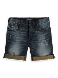 Scotch & Soda Korte Broek Jeans Gewassen Blauw   36