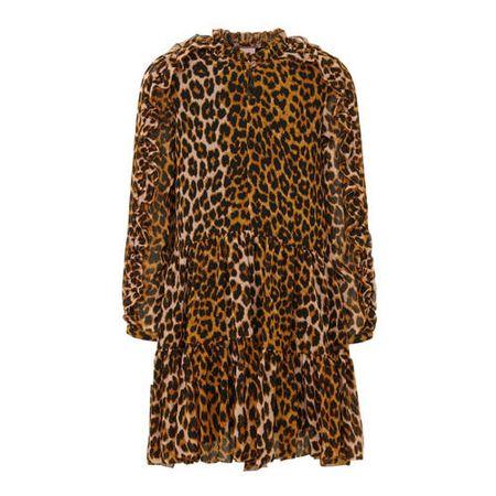Scotch & Soda semi-transparante jurk met dierenprint en ruches bruin/zwart