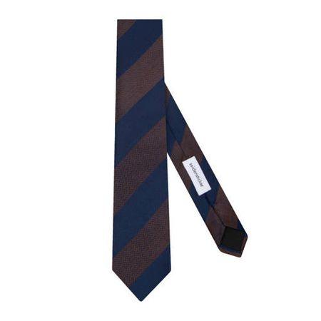 Seidensticker zijden stropdas donkerblauw/bruin