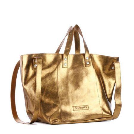Shabbies Amsterdam leren shopper goud/brons
