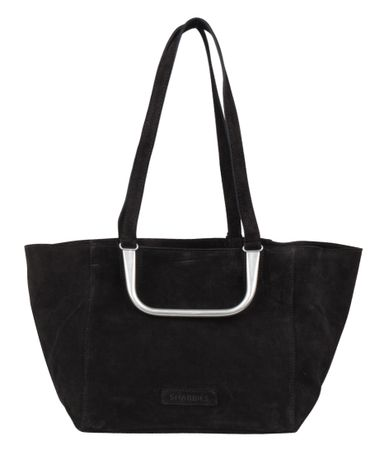 Shabbies Handtassen Handbag Medium Suede Zwart