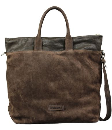 Shabbies Handtassen Handbag Medium Waxed Suede Nappa Bruin