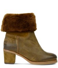 Shabbies Laarsjes Ankle Boot Waxed Suede Double Face Bruin