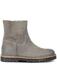 Shabbies-Laarsjes-Ankle Boot Waxed Suede-Grijs