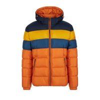 s.Oliver winterjas met all over print oranje/blauw/geel/marine