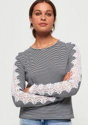 Superdry shirt met lange mouwen LACE TRIM LONGSLEEVE TOP