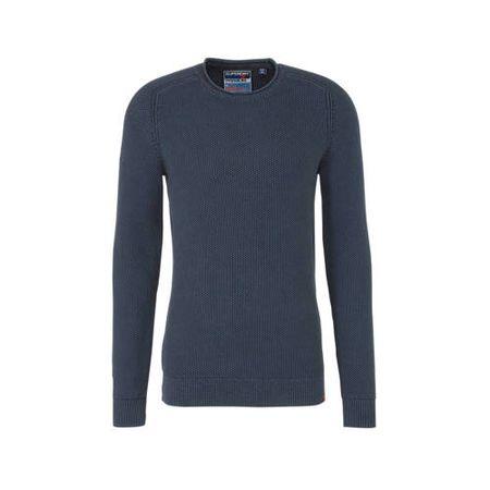 Superdry trui met textuur donkerblauw
