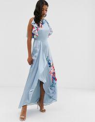 Ted Baker - Fredila - Lange jurk met frambozenprint-Blauw