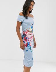 Ted Baker - Hailly - Bardot-jurk met bloemenprint-Blauw