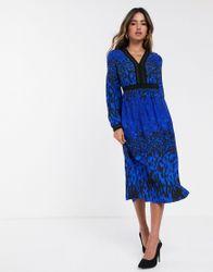 Ted Baker - Maryema - Topaas midi-jurk met luipaardprint-Blauw