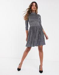 Ted Baker - Noaleen - Hoogsluitende glinsterende mini-jurk-Blauw