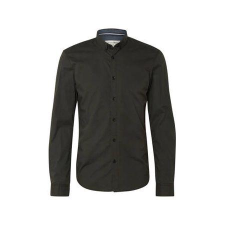 Tom Tailor slim fit overhemd met all over print donkergroen