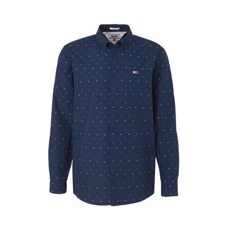 Tommy Jeans slim fit polo met all over print marine