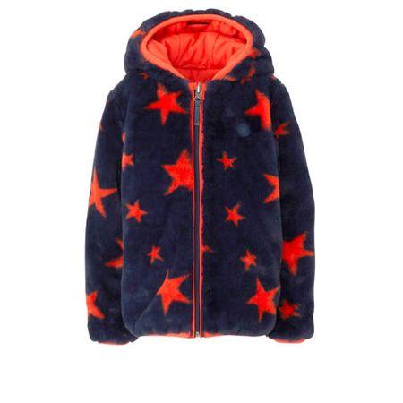 Tumble 'n Dry Mid jas van imitatiebont met sterren blauw